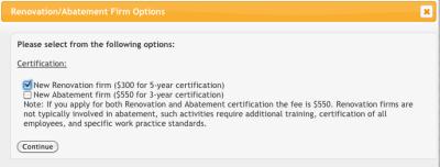 EPA Firm Certification online application