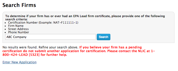 EPA Firm Certification